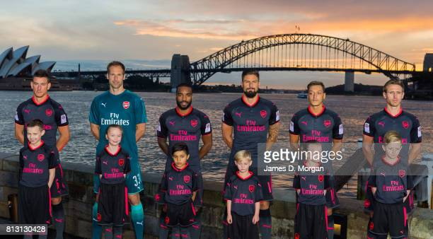 Arsenal FC players Laurent Koscielny Petr Cech Alexandre Lacazette Olivier Giroud Mesut Ozil and Nacho Monreal during the unveiling of Arsenal FC's...