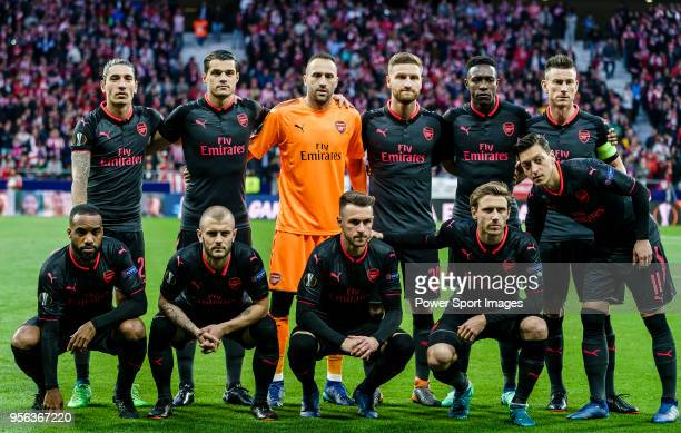 Arsenal FC squad poses for photos prior to the UEFA Europa League 201718 semifinals match between Atletico de Madrid and Arsenal FC at Wanda...