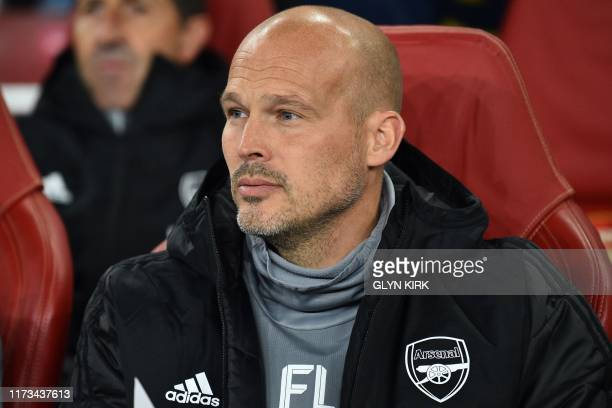 Arsenal first team assistant coach Swedish former player Freddie Ljungberg look son during the UEFA Europa League Group F football match between...