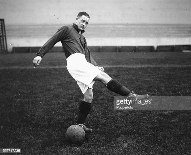 Arsenal football player Alex James on the training ground London November 1930