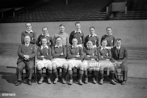 Arsenal football team pose for a group photograph along with manager Herbert Chapman 13th April 1932