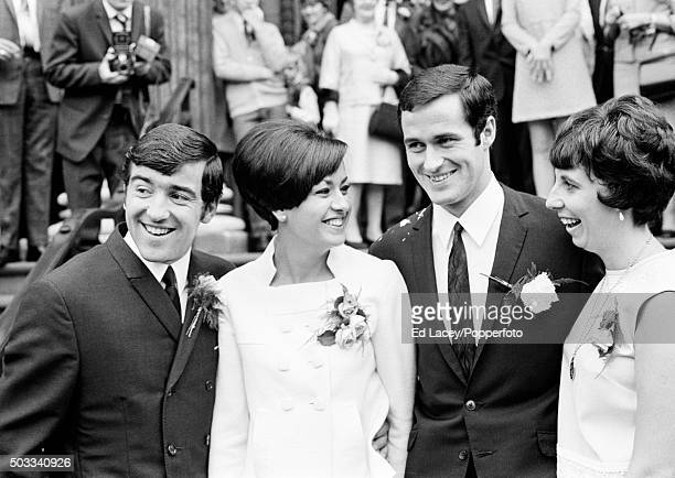 Arsenal footballer George Graham after his marriage to Marie Zia at Marylebone Town Hall in London with his best man and teammate Terry Venables and...