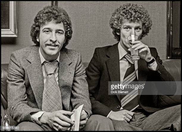 Arsenal footballers Alan Sunderland and Graham Rix promoting the team's single 'Roll Out The Red Carpet' London 1978