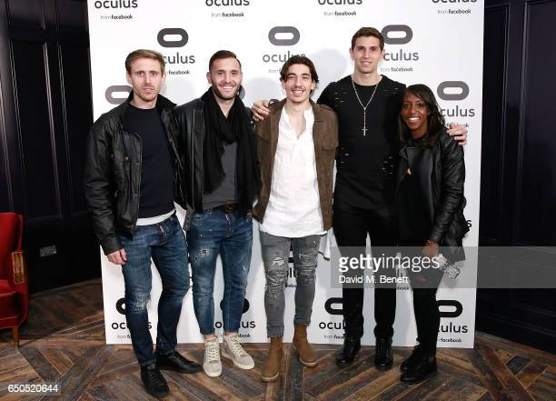 Arsenal footballers Nacho Monreal Lucas Perez Hector Bellerin Emiliano Martinez and Danielle Carter attend the Oculus Game Days VIP opening night...