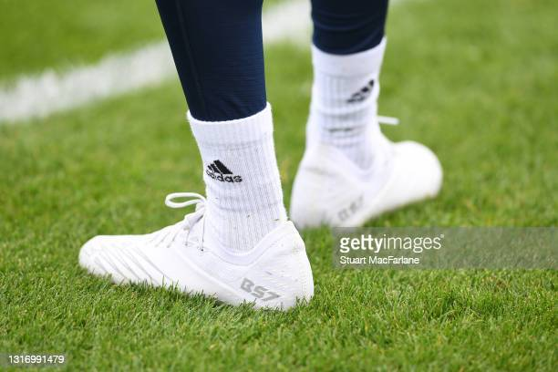 Arsenal forward Bukayo Saka's boots during a training session at London Colney on May 08, 2021 in St Albans, England.