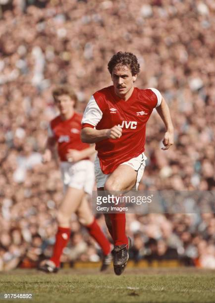 Arsenal full back Kenny Sansom in action during a League match circa 1984 at Highbury in London, England.