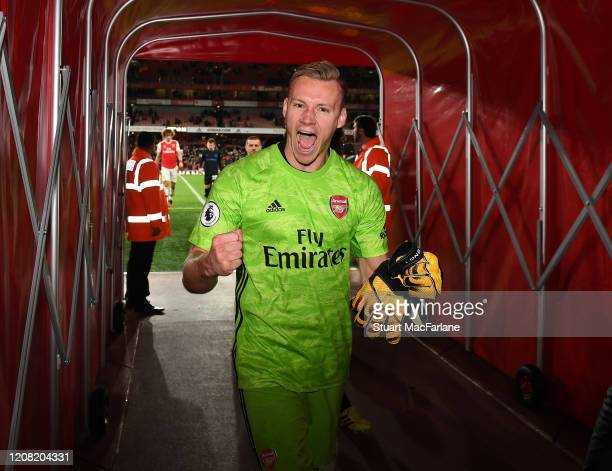 Arsenal goalkeeper Benrd Leno celebrates after the Premier League match between Arsenal FC and Everton FC at Emirates Stadium on February 23 2020 in...