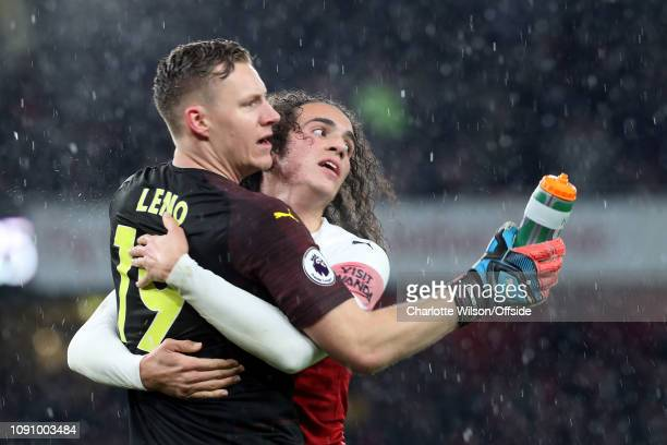 Arsenal goalkeeper Bernd Leno and Matteo Guendouzi of Arsenal celebrate their 2nd goal during the Premier League match between Arsenal FC and Cardiff...