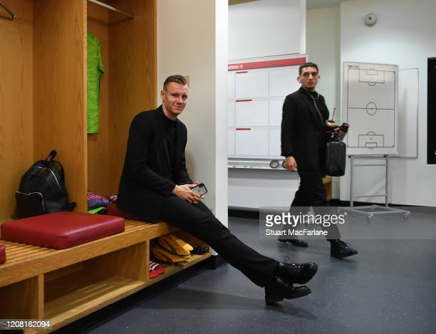 Arsenal goalkeeper Bernd Leno in the home changing room before the Premier League match between Arsenal FC and Everton FC at Emirates Stadium on...