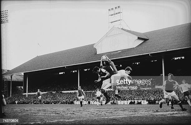 Arsenal goalkeeper Bob Wilson makes a save against Tottenham Hotspur at White Hart Lane, 4th May 1971. Arsenal scored in the last minute of the match...