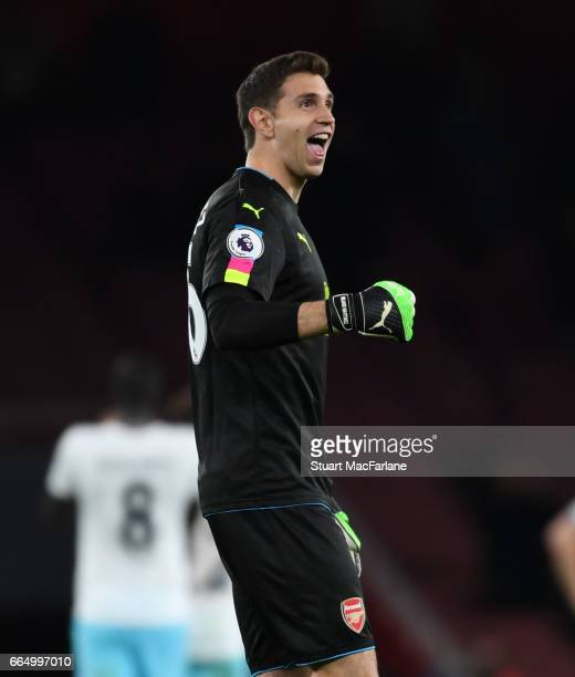 Arsenal goalkeeper Emiliano Martinez after the Premier League match between Arsenal and West Ham United at Emirates Stadium on April 5 2017 in London...
