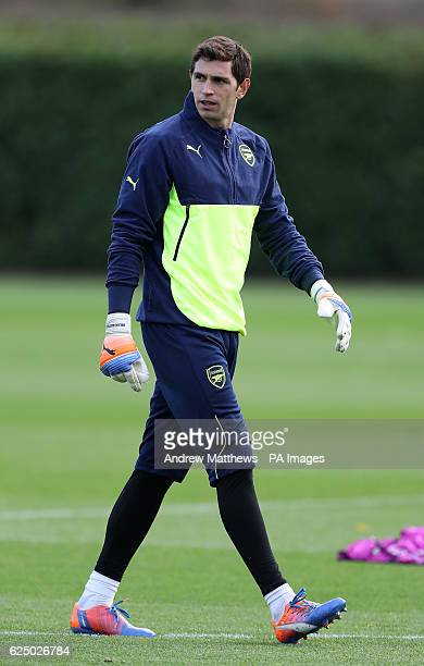 Arsenal goalkeeper Emiliano Martinez during a training session ahead of the UEFA Champions League group stage match, at London Colney. PRESS...