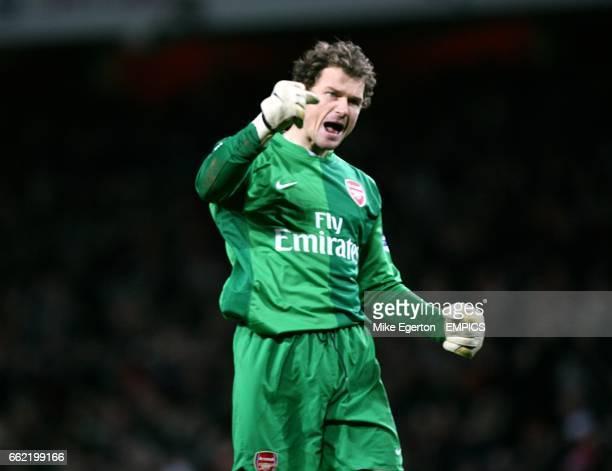 Arsenal goalkeeper Jens Lehmann celebrates Robin Van Persie's equaliser