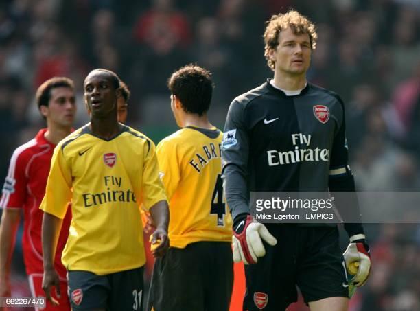 Arsenal goalkeeper Jens Lehmann walks off dejected at the final whistle