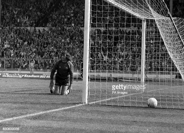 Arsenal goalkeeper Pat Jennings kneels dejectedly after Gordon McQueen had scored Manchester United's first goal during the FA Cup Final at Wembley...