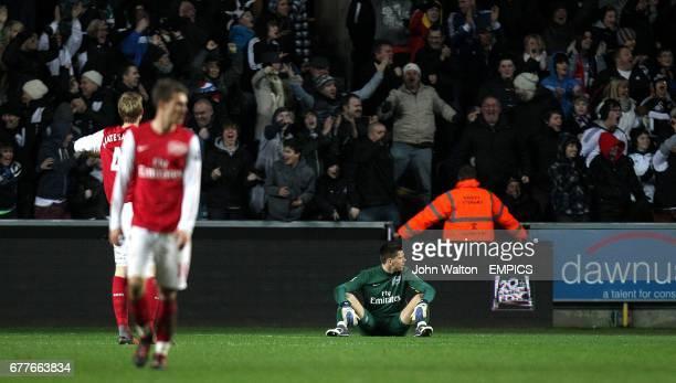 Arsenal goalkeeper Wojciech Szczesny sits dejected as Swansea City fans celebrate their side's third goal in the stands