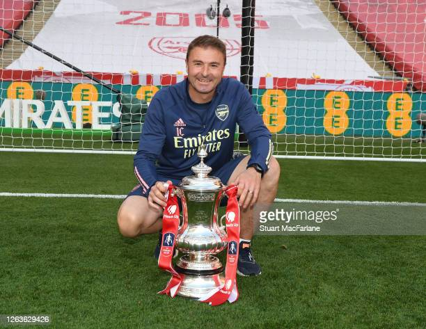 Arsenal goalkeeping coach Inaki Cana Pavon the FA Cup Final match between Arsenal and Chelsea at Wembley Stadium on August 01 2020 in London England...