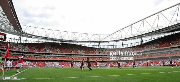 Arsenal have a throw in against Ajax during a pre season 'Dennis Bergkamp' testimonial match at Emirates stadium in north London 22 July 2006 The...