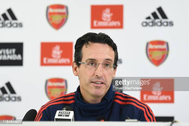 Arsenal Head Coach attends a press conference at London Colney on November 01, 2019 in St Albans, England.