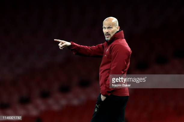 Arsenal Head Coach Freddie Ljungberg gives his team instruction during the Premier League 2 match between Arsenal and Leicester City at Emirates...
