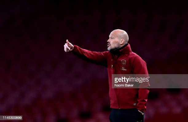 Arsenal Head Coach Freddie Ljungberg reacts during the Premier League 2 match between Arsenal and Leicester City at Emirates Stadium on April 26 2019...