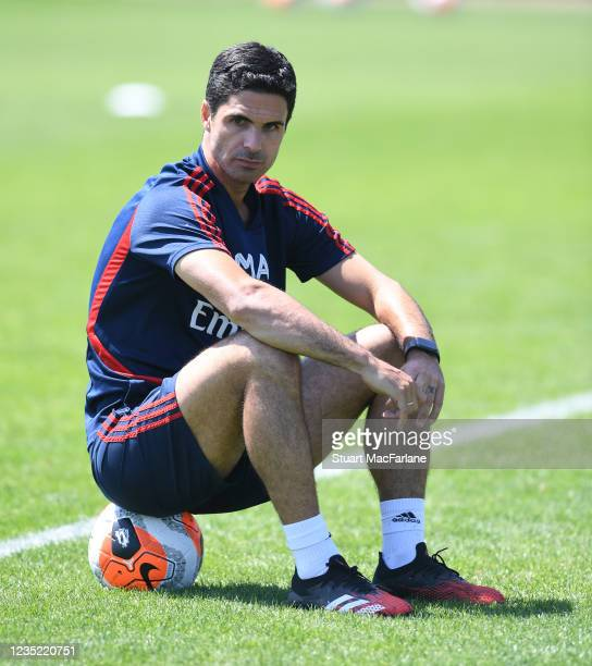 Arsenal Head Coach Mikel Arteta after a training session at London Colney on May 30, 2020 in St Albans, England.