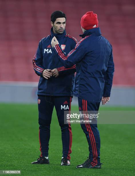 Arsenal Head Coach Mikel Arteta and assistant Freddie Ljungberg after a training session at Emirates Stadium on December 28 2019 in London England