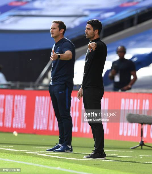 Arsenal Head Coach Mikel Arteta and Chelsea Head Coach Frank Lampard during the FA Cup Final match between Arsenal and Chelsea at Wembley Stadium on...