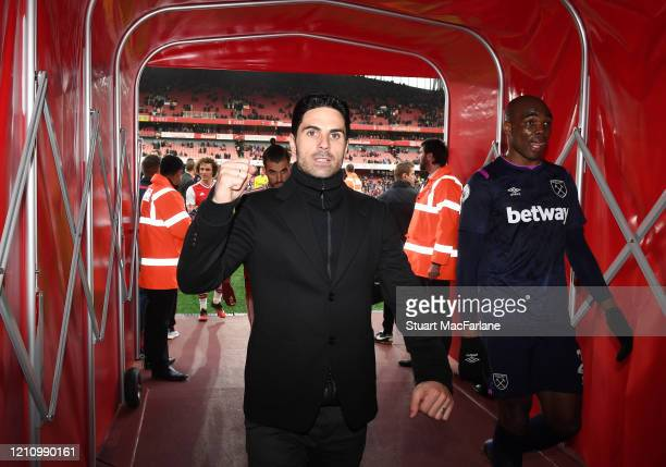 Arsenal Head Coach Mikel Arteta celebrates after the Premier League match between Arsenal FC and West Ham United at Emirates Stadium on March 07 2020...