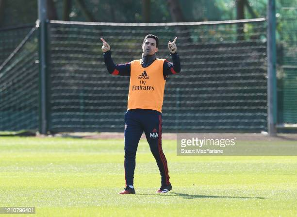 Arsenal Head Coach Mikel Arteta during a training session at London Colney on March 06 2020 in St Albans England