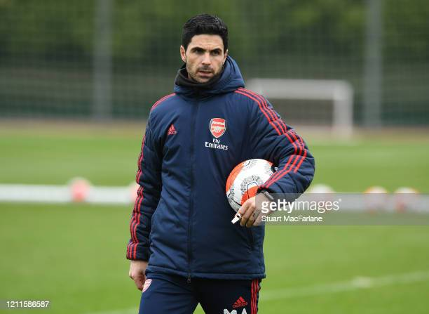 Arsenal Head Coach Mikel Arteta during a training session at London Colney on March 10 2020 in St Albans England