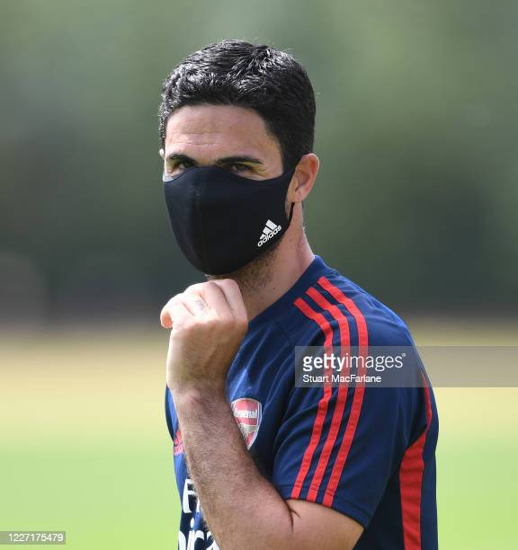 Arsenal Head Coach Mikel Arteta during a training session at London Colney on May 26, 2020 in St Albans, England.
