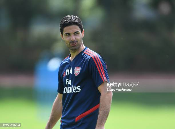 Arsenal Head Coach Mikel Arteta during a training session at London Colney on May 26 2020 in St Albans England