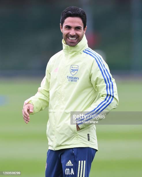 Arsenal Head Coach Mikel Arteta during a training session at London Colney on June 30, 2020 in St Albans, England.