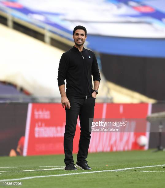 Arsenal Head Coach Mikel Arteta during the FA Cup Final match between Arsenal and Chelsea at Wembley Stadium on August 01 2020 in London England...