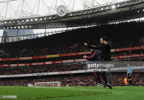 Arsenal Head Coach Mikel Arteta during the Premier League match between Arsenal FC and West Ham United at Emirates Stadium on March 07 2020 in London...
