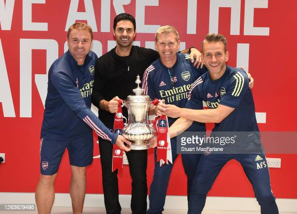 Arsenal Head Coach Mikel Arteta with goalkeeping coach Inaki Cana Pavon and assistants Steve Round and Albert Stuivenburg after the FA Cup Final...