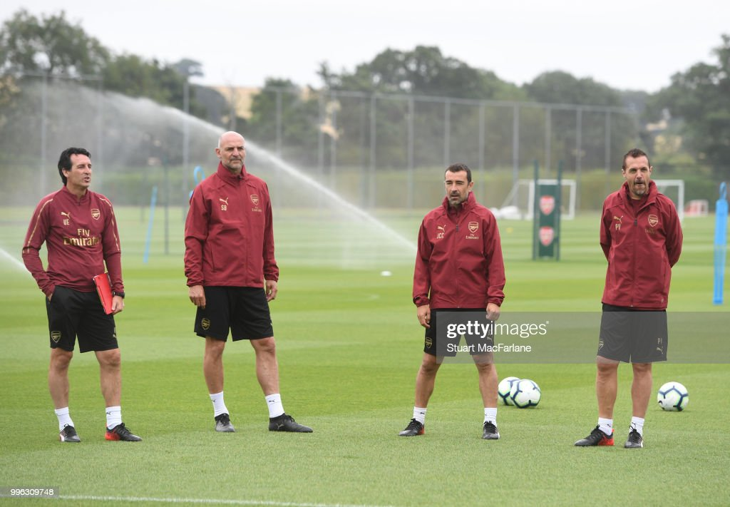 Arsenal Head Coach Unai Emery and assistants Steve Bould, Juan Carlos Carcedo and Pablo Villanueva during a training session at London Colney on July 11, 2018 in St Albans, England.