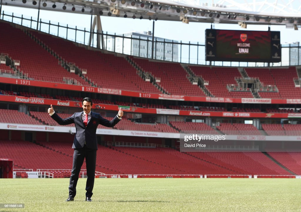 Arsenal Head Coach Unai Emery at Emirates Stadium on May 23, 2018 in London, England.