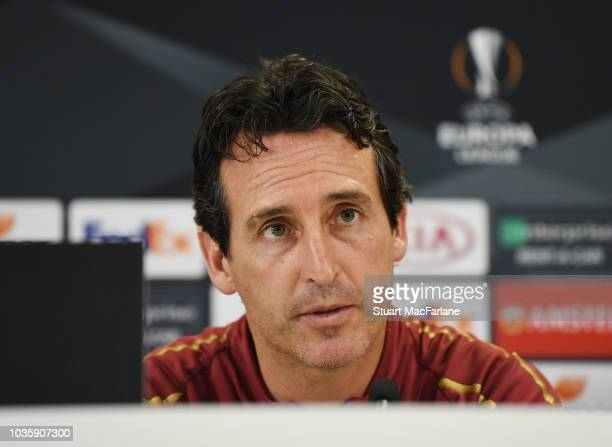 Arsenal Head Coach Unai Emery attends a press conference at London Colney on September 19 2018 in St Albans England
