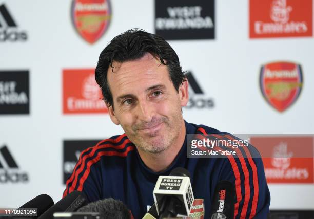 Arsenal Head Coach Unai Emery attends a press conference at London Colney on August 29, 2019 in St Albans, England.