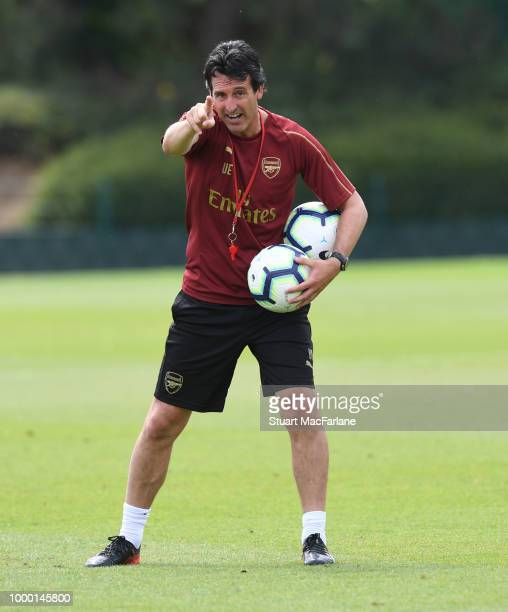Arsenal Head Coach Unai Emery during a training session at London Colney on July 16 2018 in St Albans England