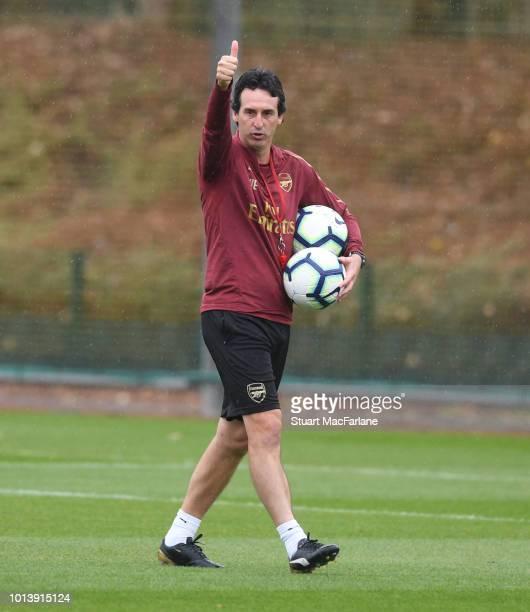 Arsenal Head Coach Unai Emery during a training session at London Colney on August 10 2018 in St Albans England