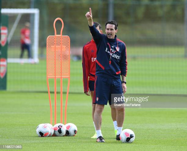 Arsenal Head Coach Unai Emery during a training session at London Colney on August 15 2019 in St Albans England