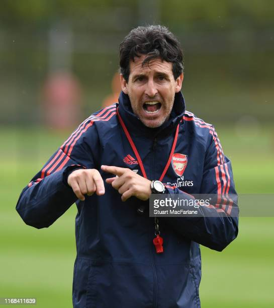 Arsenal Head Coach Unai Emery during a training session at London Colney on August 16 2019 in St Albans England