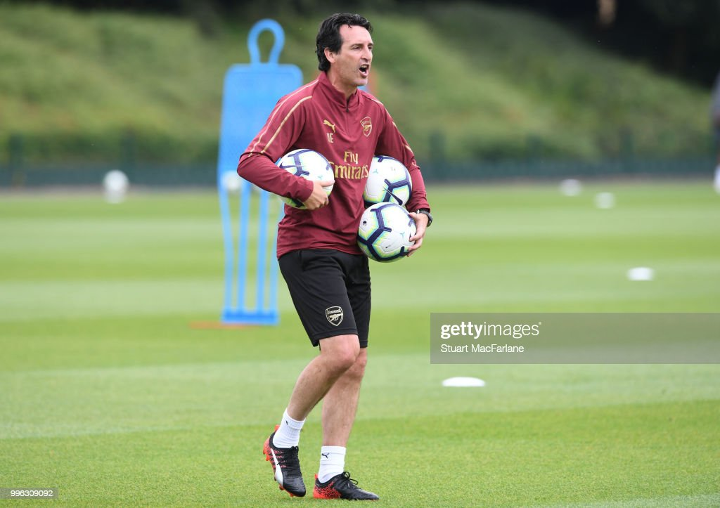 Arsenal Head Coach Unai Emery during a training session at London Colney on July 11, 2018 in St Albans, England.