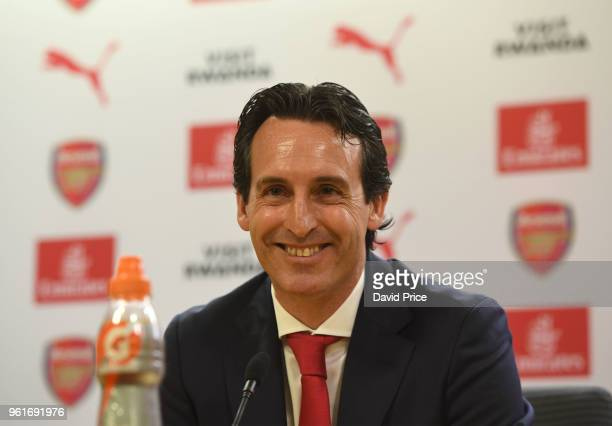 Arsenal Head Coach Unai Emery during his press conference at Emirates Stadium on May 23 2018 in London England