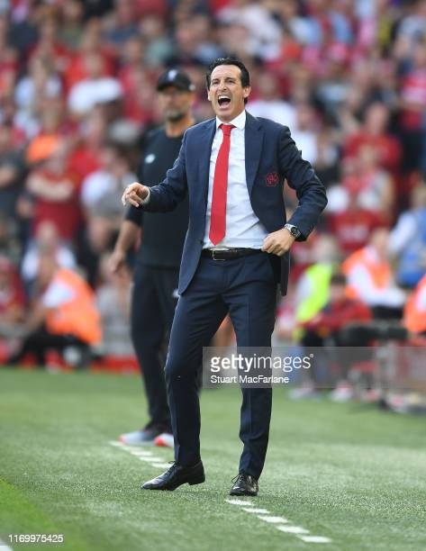 Arsenal Head Coach Unai Emery during the Premier League match between Liverpool FC and Arsenal FC at Anfield on August 24 2019 in Liverpool United...