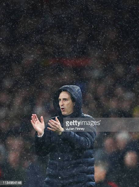 Arsenal Head Coach Unai Emery gives support during the Premier League match between Arsenal FC and Manchester United at Emirates Stadium on March 10...