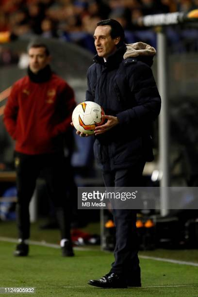 Arsenal head coach Unai Emery holds the ball during the UEFA Europa League Round of 32 First Leg match between BATE Borisov and Arsenal at...